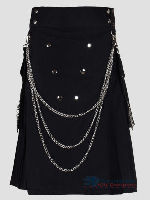 Scottish Black Utility Kilt With Chain