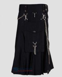 Scottish Black Utility Kilt With Chain