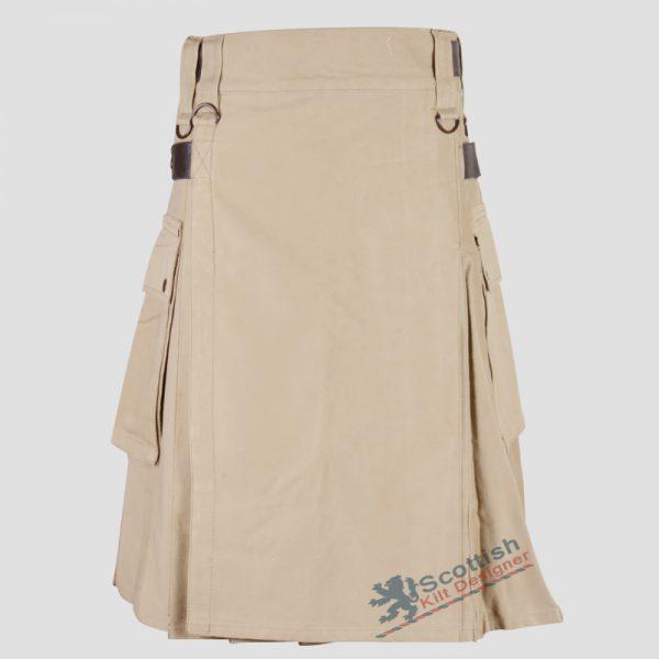 scottish-khaki-utility-kilt-with-leather-buckle-2
