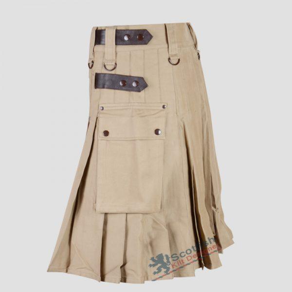 Scottish Men Khaki Utility Kilt For Sale