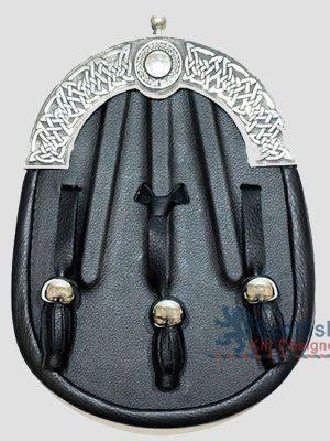 Scottish Dark Black Leather Sporran
