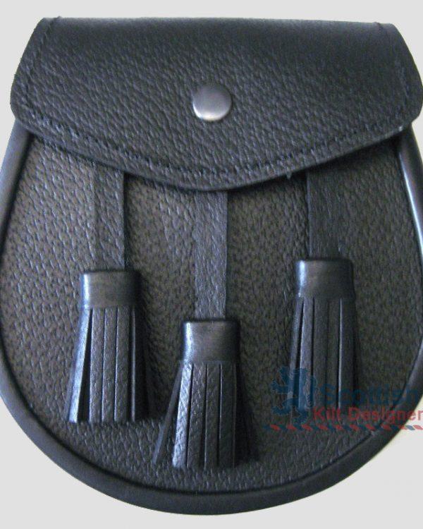 Scottish Full Leather Black Sporran