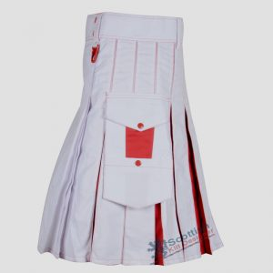 Two Toned White RED Cotton Kilt