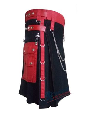 Black Scottish Utility Cotton Kilt