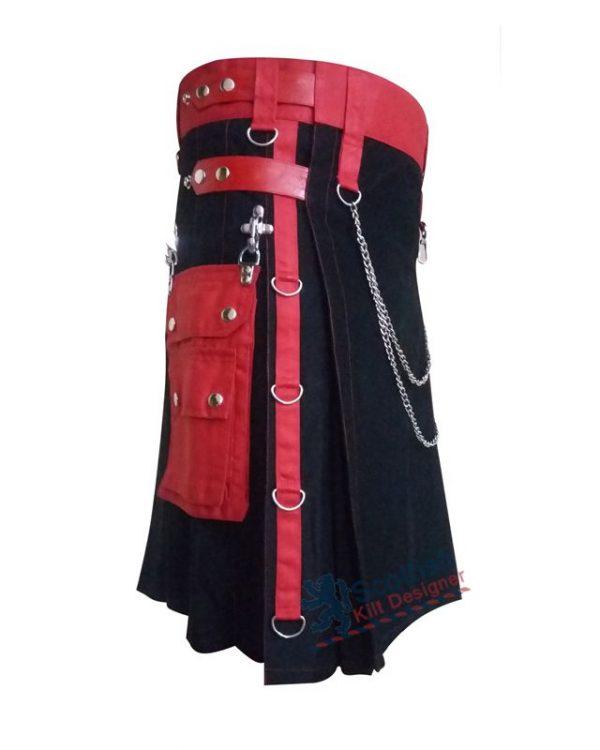 Black Scottish Utility Cotton Kilt