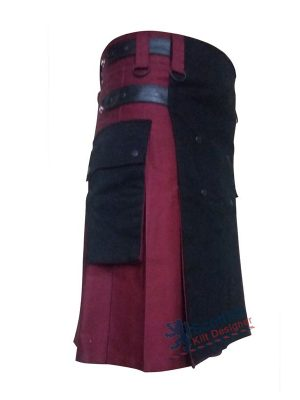 Maroon Modern Two Toned Scottish Kilt