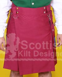 Two Toned Scottish Red Cotton Kilt