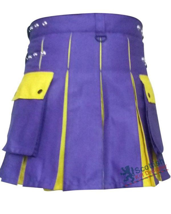Purple Cotton Two Toned Scottish Kilt