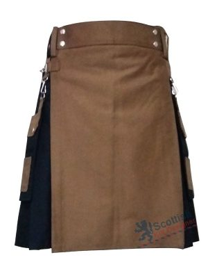 Black Cotton Brown Apron Kilt