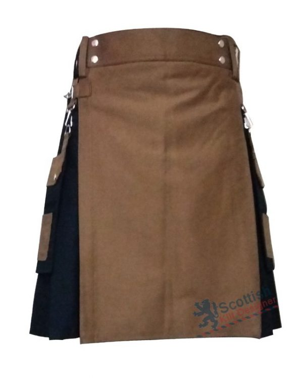 Black Scottish Two Toned Modern Kilt