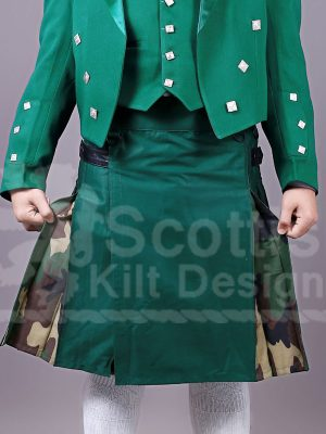 Scottish Two Toned Green Cotton Kilt