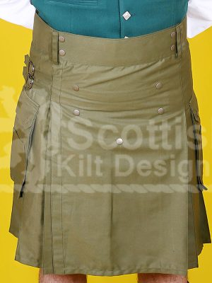 Khaki Green Utility Cotton Kilt