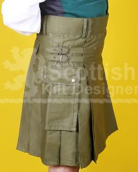 Khaki Green Utility Cotton Kilt Side