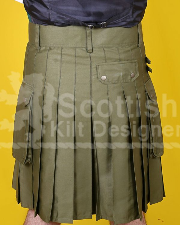 Khaki Green Utility Cotton Kilt Back