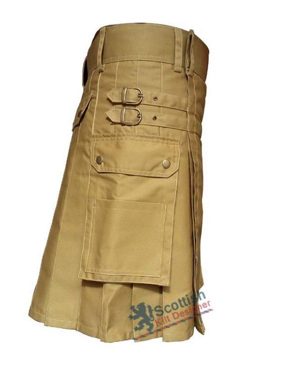 Khaki Utility Cotton Kilt
