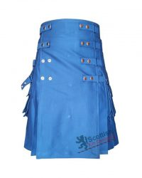 Men Modern Blue Cotton Utility Kilt