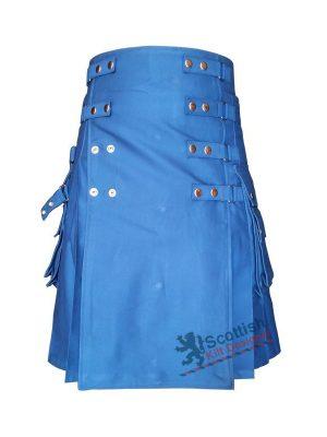 Men Modern Blue Cotton Utility Kilt
